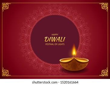 Diwali Hindu festival greeting card. Vector illustration