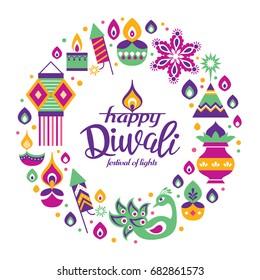 Diwali Hindu festival greeting card with modern elements