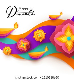 Diwali Hindu festival greeting design in paper cut style with oil lamps on colorful waves and beautiful flowers of lights. Holiday background for branding greeting card, banner, cover, flyer or poster