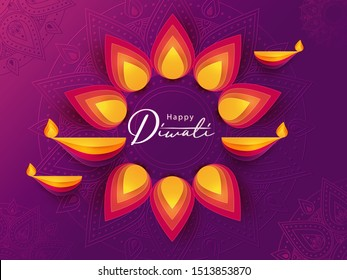 Diwali Hindu festival greeting design in paper cut style with beautiful bright lights, oil lamps and flowers of lights. Holiday background for branding, greeting card, banner, cover, flyer or poster