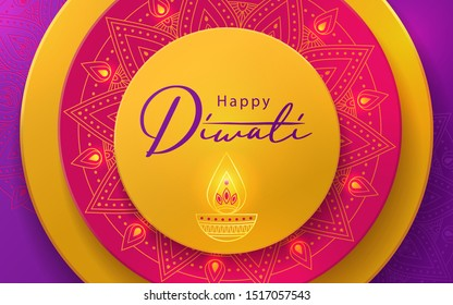 Diwali Hindu festival greeting design in paper cut style with beautiful bright lights, oil lamp and flowers of lights. Holiday background for branding, greeting card, banner, cover, flyer or poster