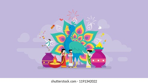 Diwali Hindu Festival Holy Celebration Tiny People Character Concept Vector Illustration, Suitable For Wallpaper, Banner, Background, Card, Book Illustration, And Web Landing Page