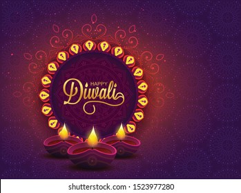 Diwali Holiday background for light festival of India with message Happy Diwali - Vector