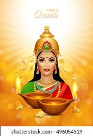 Diwali Holiday greeting card. Deepawali background with two burning diya and  Lakshmi  hindu goddess.