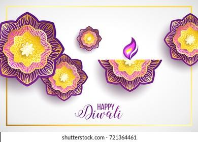 DIwali holiday shiny background with diya lamp and rangoli. Vector illustration. Diwali festival sale poster with mandala, flower, diya lamp. Happy Diwali.
