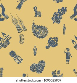 Diwali - Indian Festival Background. Seamless Pattern. Vector