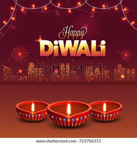 Diwali Indian Festival Lights Night Background Stock Vector (Royalty ...