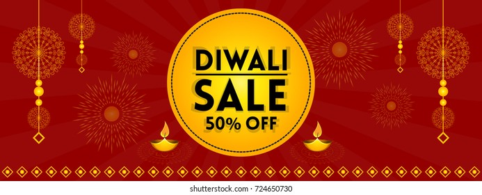 Diwali (Indian festival of lights) sale promotion vector illustration for banner, background and poster with festive elements and creative concept.
