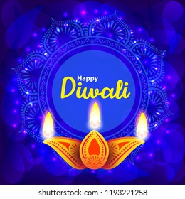 Diwali Indian traditional  lamp with blue floral background