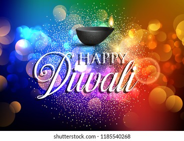 Diwali lamp background with colourful lights