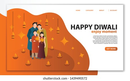 Diwali Landing Page Template. Family Character Celebrate Diwali Festival in India, Traditional Style and Eastern Culture. Flat Cartoon Vector Illustration for Website Page.