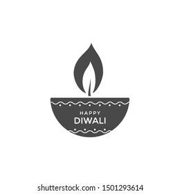 Diwali oil lamp or candle icon design. Vector emblem