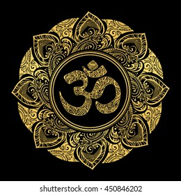 Diwali Om symbol with mandala. Round golden Pattern on black background. Hand drawn Ornate Indian pattern decorative vector elements.