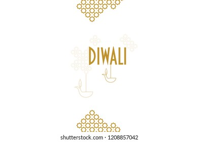 Diwali ornaments with lamps vector illustration greeting card or banner concept. Deepavali Hindu Festival of Lights gold rangoli background.