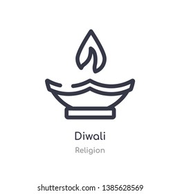 diwali outline icon. isolated line vector illustration from religion collection. editable thin stroke diwali icon on white background