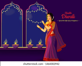 Diwali poster or banner design with illustration of young lady decorated her house illuminated oil lamp and message for you Spread the Light of Joy & Happiness.