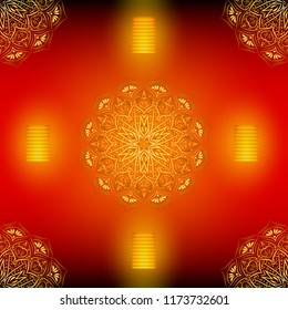 Diwali red seamless vector pattern with golden mandala, eps 10.