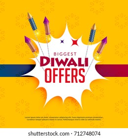 diwali sale yellow background with crackers