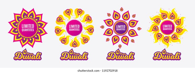 Diwali sales banners. Limited quantities symbol. Special offer sign. Sale. Diwali hindu festival of lights. Shopping tags. Vector