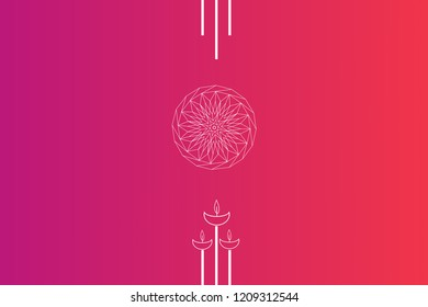 Diwali vector illustration design card template. Diwali Festival of Lights holiday concept. Deepavali oil lamps and geometric ornaments.