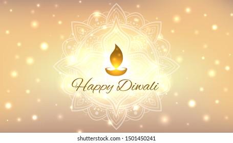 Diwali vector illustration. Design template with festive golden background. Festive diwali card. Confetti and bokeh golden background. Vector holiday illustration