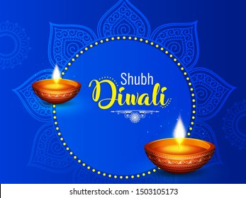 Diwali vector illustration with text of happy diwali and festival elements and traditional diya and background can be used for greetings , banners and header.