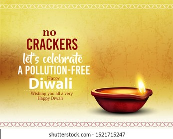 Diwali vector illustration with text of happy diwali and festival elements and traditional diya and background