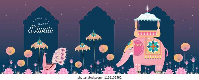 diwali/deepavali elephant greetings template vector/illustration