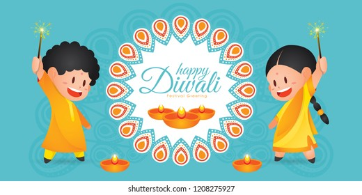 Diwali/Deepavali vector illustration with  Cute indian kids enjoying firecracker, rangoli and diya (india oil lamp)