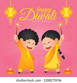 Diwali/Deepavali vector illustration with  Cute indian kids enjoying firecracker, hanging kandil and diya (india oil lamp)
