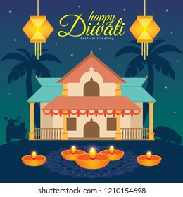 Diwali/Deepavali vector illustration with  indian house, hanging kandil and diya (india oil lamp)