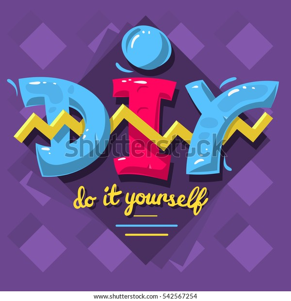 DIY Acronym. Do It Yourself. 90s Vibrant Colors Aesthetic Type Label Design.  Vector Graphic.
