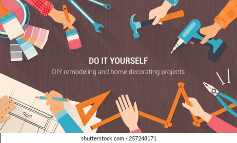 DIY banner with people working together and using different tools
