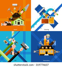 DIY design concept set with repair tools flat icons isolated vector illustration