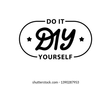 DIY do it yourself. Lettering abbreviation logo stamp. Vector illustration. Template for print design label, badge rubber seal stamp on white background
