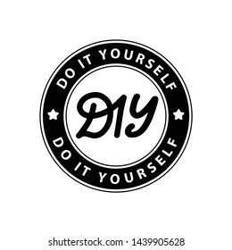 DIY do it yourself. Lettering abbreviation logo circle stamp. Vector illustration. Round Template for print design label, badge rubber seal stamp on white background