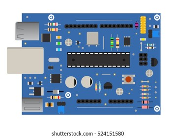 DIY electronic board with a micro-controller, LEDs, connectors, and other electronic components, to form the basic of smart home, robotic, and many other projects related to electronics