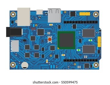 DIY electronic mega board with a micro-controller, LEDs, connectors, and other electronic components, to form the basic of smart home, robotic, and many other projects related to electronics.