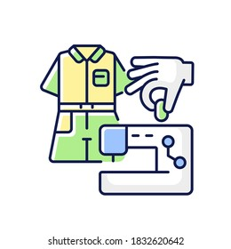 DIY fashion RGB color icon. Handmade outfit. Create clothes with sewing machine. Handicraft textile and cloth. Tailor studio. Needlecraft production. Designer workshop. Isolated vector illustration