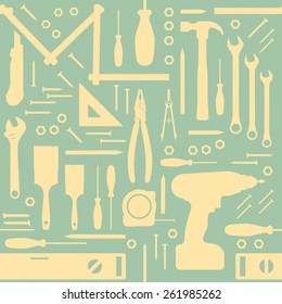 DIY and home renovation tools vintage seamless pattern with silhouettes