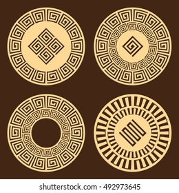 DIY laser cutting patterns. Jigsaw die cut ornaments. Greek cutout silhouette stencils. Fretwork round panels. Vector coasters for paper cutting, scrapbook and woodcut.