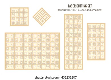 DIY Laser Cutting set. Woodcut Vector Panels and Ornament. Plywood Lasercut Greek Design.