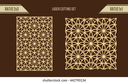 DIY Laser Cutting set. Woodcut Vector Panel. Plywood Lasercut Eastern Design. Rising Sun Seamless Pattern for Laser Cutting.