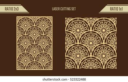 DIY Laser Cutting set. Woodcut Vector Panel. Plywood Lasercut Eastern Design. Rising Sun Seamless Pattern for Laser Cutting.