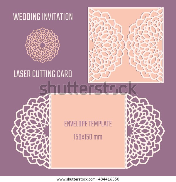 Diy Laser Cutting Vector Envelope Wedding Stock Vector (Royalty Free