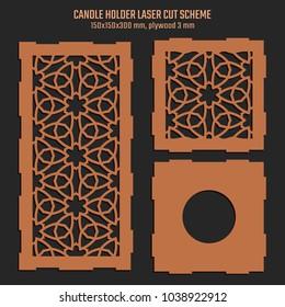 DIY Laser Cutting Vector Scheme for Candle Holder. Woodcut Lantern plywood 3mm. Oriental Floral design.