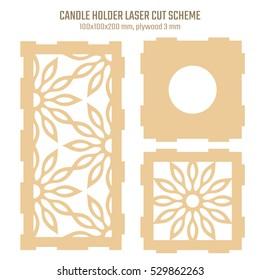 DIY Laser Cutting Vector Scheme for Candle Holder. Woodcut Lantern plywood 3mm. Oriental Geometric design