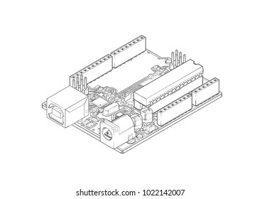 DIY Micro-controller Electronic Board Sketch Isometric View