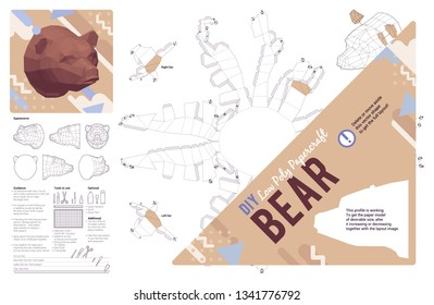 DIY papercraft bear head. Make your own 3D low poly handicraft, hunting trophy folding kit. Printable paper craft animal model template. Wall-mount interior decoration and hobby idea. Vector layout