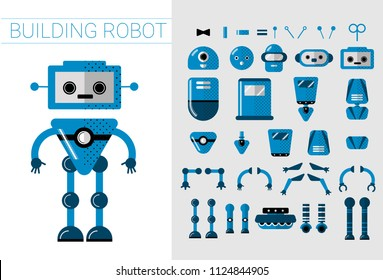 DIY Set of vector robots details in flat cartoon style. Cute Cartoon Robotic separate parts for creation of Artificial Intelligence Cartoon robots - Concept Flat Vector Illustration. Head, handsn and